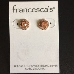 NWT 14k rose gold over sterling silver CZ earrings